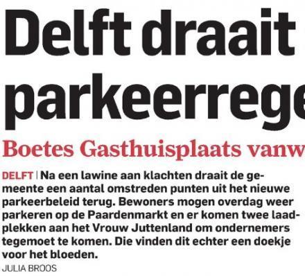 """""""Delft draait omstreden parkeerregels terug"""""""